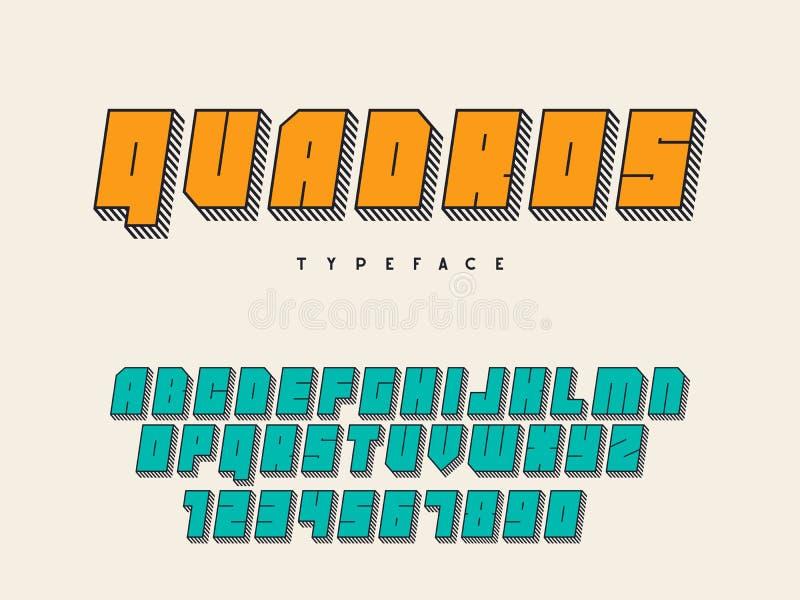 Guss des quadratischen Blockes des Vektors Buchstaben und Zahlen des lateinischen Alphabetes Schrifttyp 3D stock abbildung