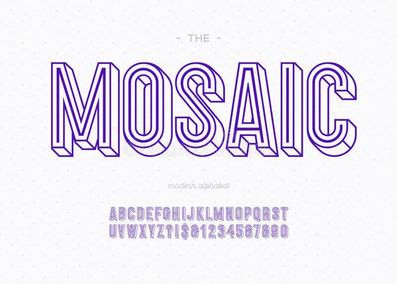 Guss-GROTESK-Typografie des Mosaiks 3d mutige für Dekoration vektor abbildung