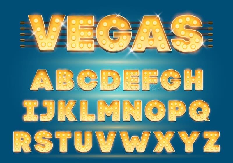 Guss mit Lampen Goldglühlampe, Broadway-Art Glühender Scheine Alphabet-Satz Schablonen-Karikatur-Vektorillustration stock abbildung