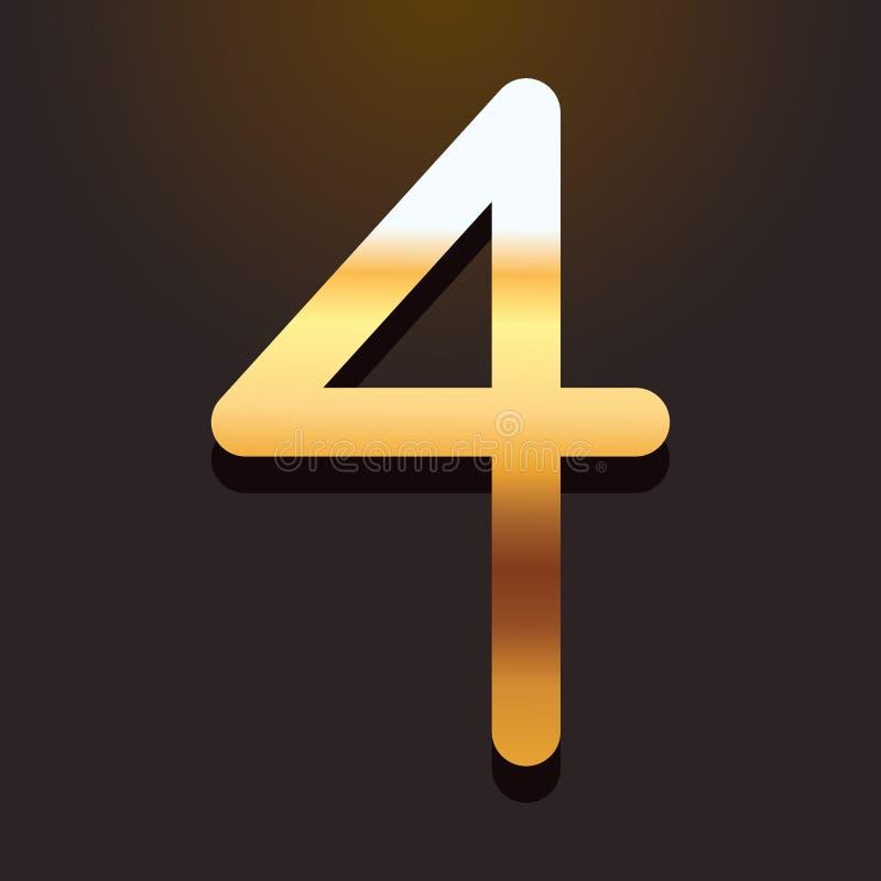 Guss mit vier Zahlen Gold lizenzfreie abbildung