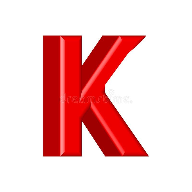Guss stellte mit glatten rosa Farbenbuchstaben der Buchstaben K ein 3D übertragen vom Blasenguß mit Schimmer Typografievektorillu lizenzfreie abbildung