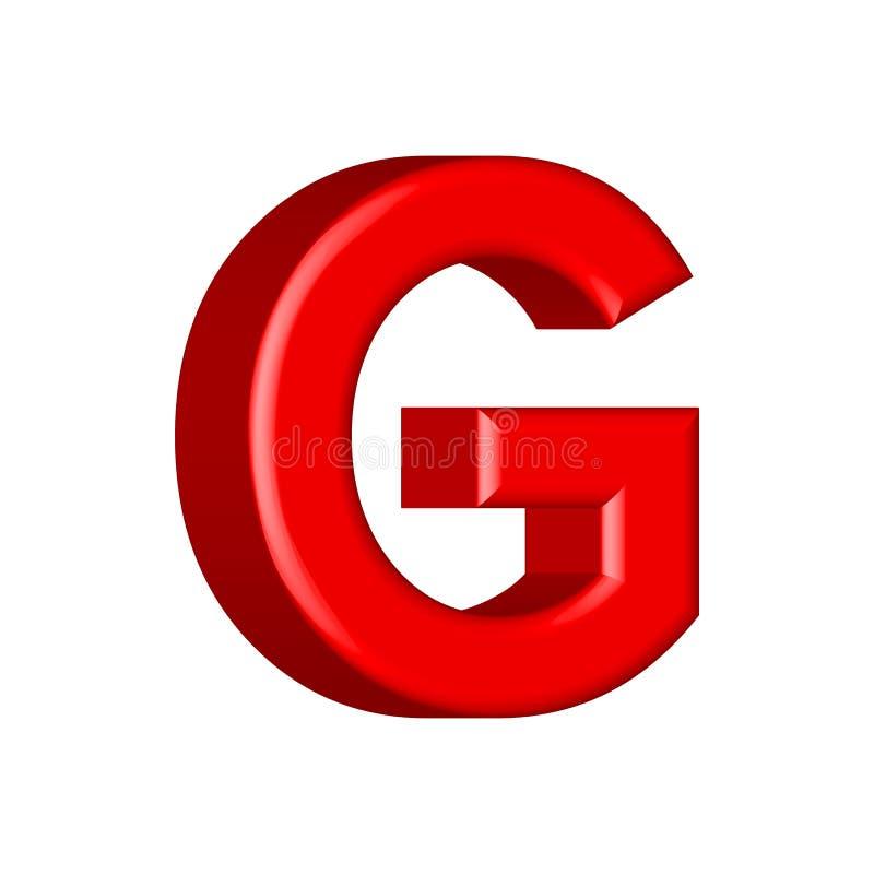 Guss stellte mit glatten roten Farbenbuchstaben Buchstaben G ein 3D übertragen vom Blasenguß mit Schimmer Typografievektorillustr stock abbildung