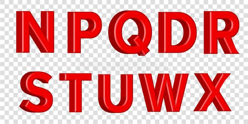 Guss stellte mit glatten roten Farbenbuchstaben der Buchstaben ein 3D übertragen vom Blasenguß mit Schimmer Typografievektorillus lizenzfreie abbildung