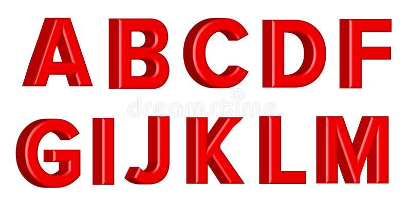 Guss stellte mit glatten roten Farbenbuchstaben der Buchstaben ein 3D übertragen vom Blasenguß mit Schimmer Auch im corel abgehob vektor abbildung