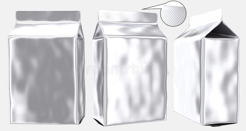 Gusseted plastpåse för tom foliepåse royaltyfri illustrationer