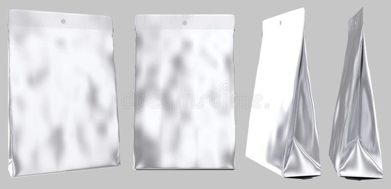 Gusseted plastpåse för tom foliepåse stock illustrationer
