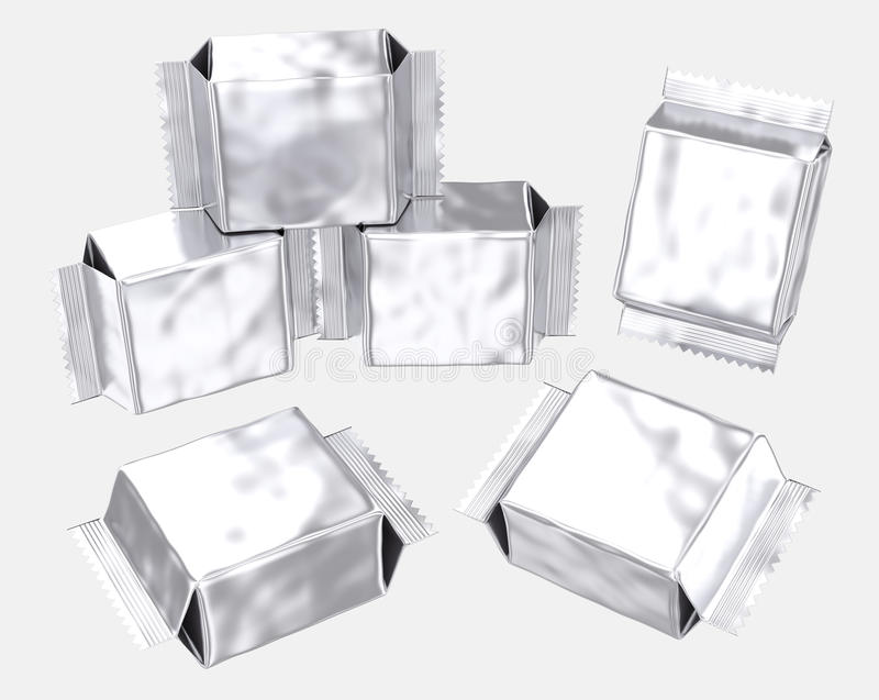 Gusseted plastpåse för tom foliepåsesilver royaltyfri illustrationer