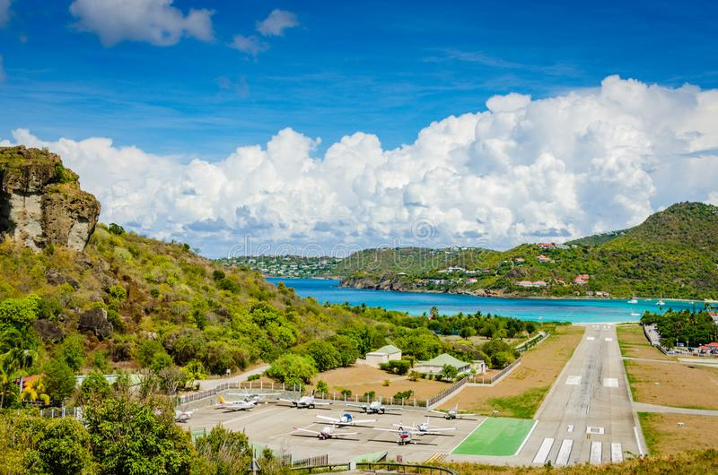 Gustaf III Luchthaven - St Barths royalty-vrije stock afbeelding