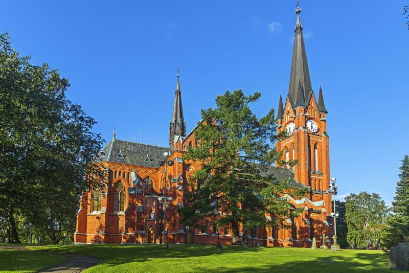 Gustav Adolf church is a parish church in Sundsvall. Sweden. Gustav Adolf church is a parish church in neo-gothic style in Sundsvall. The church was built in royalty free stock image