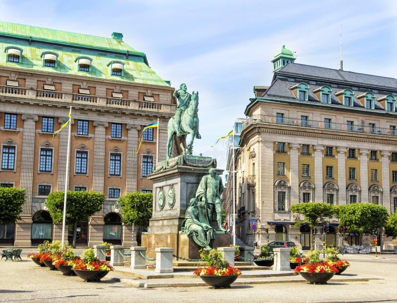 Gustav Adolfs Torg i Stockholm, Sverige fotografering för bildbyråer