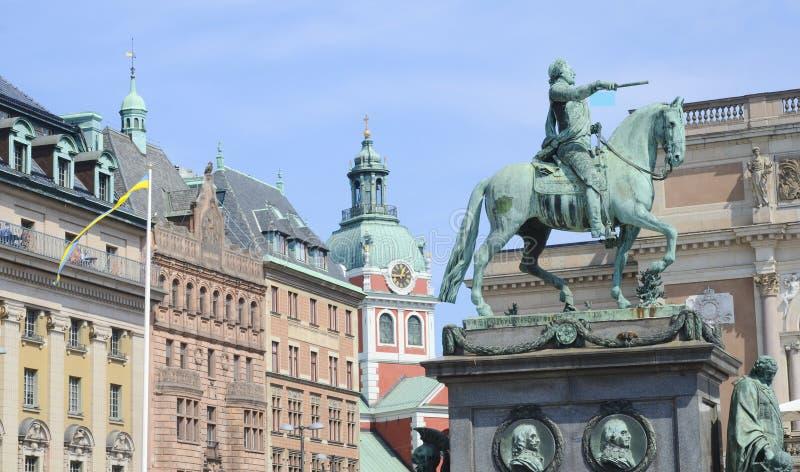 Gustav II Adolf Square Stockholm, Sverige royaltyfria foton