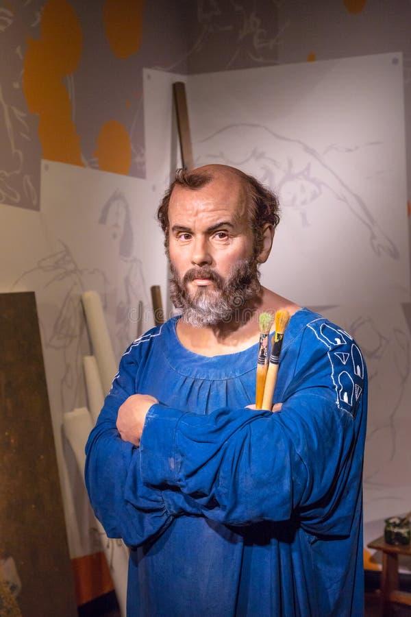 Gustav Klimt Wax Sculpture i madamen Tussauds arkivfoton