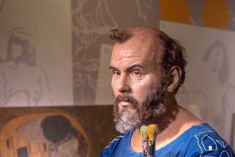 Gustav Klimt Wax Sculpture i madamen Tussauds royaltyfri bild