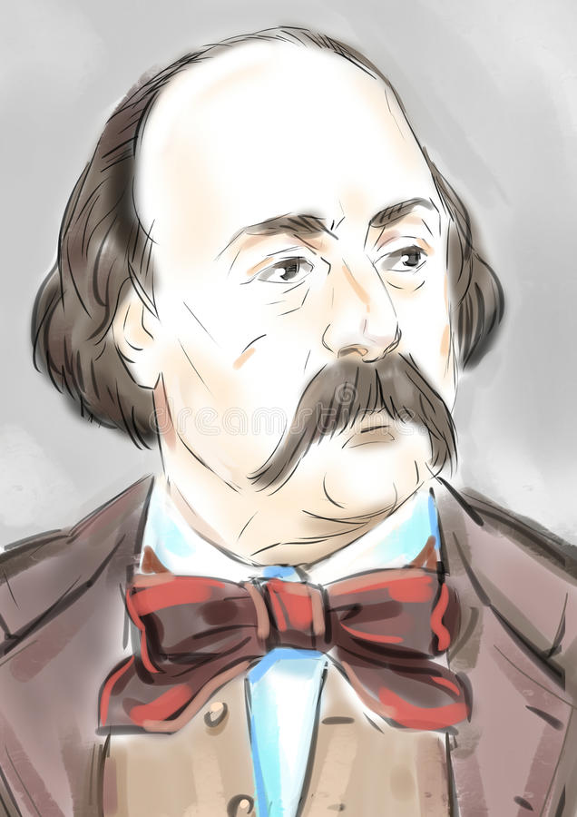 Gustave Flaubert stock illustratie