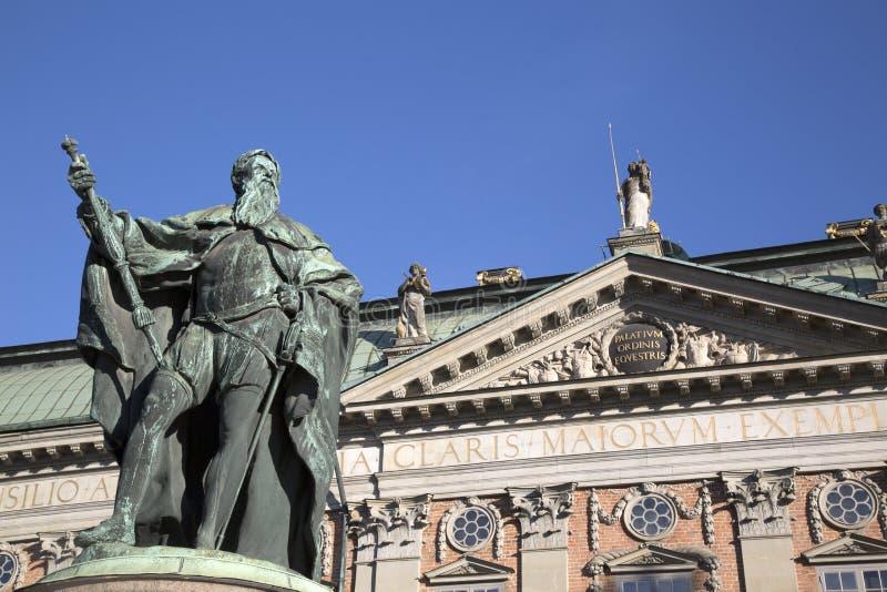 Gustavo Erici Statue durch Hubert 1773; Riddarhuset - Riddarhusto lizenzfreie stockfotos