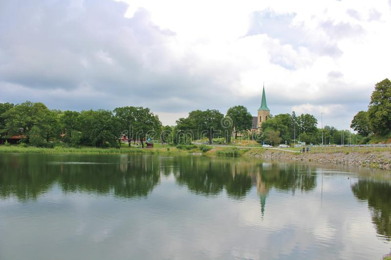 Gustavsberg. Is a village in the municipality of Värmdö, 22 km east of central Stockholm.  is located at Farstaviken on the eastern part of Varmd royalty free stock photography