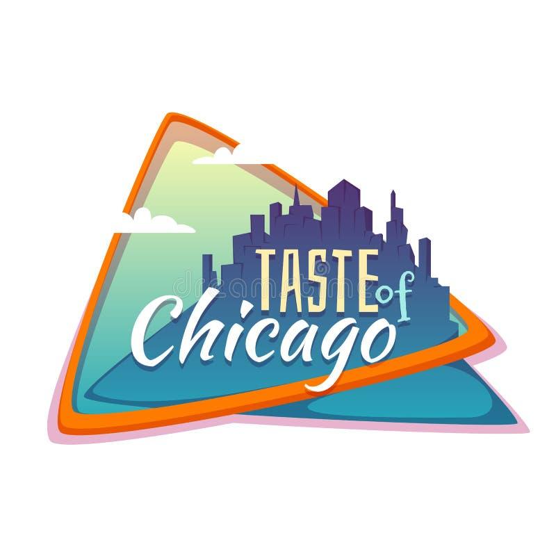 Gusto de la bandera de Chicago Ciudad plana con título libre illustration