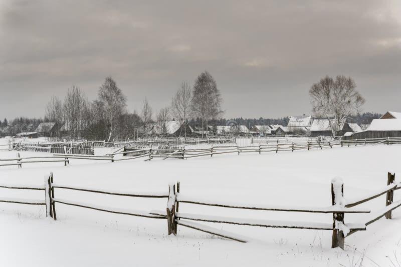 Guszczewina-Dorf im Winter Polen stockbild