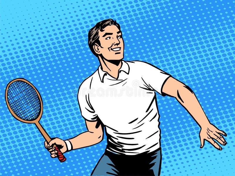 Gut aussehender Mann, der Tennis spielt lizenzfreie abbildung