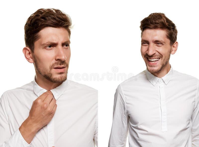 Gut aussehender Mann in einem weißen Hemd macht die Gesichter, lokalisiert auf einem weißen Hintergrund lizenzfreie stockbilder