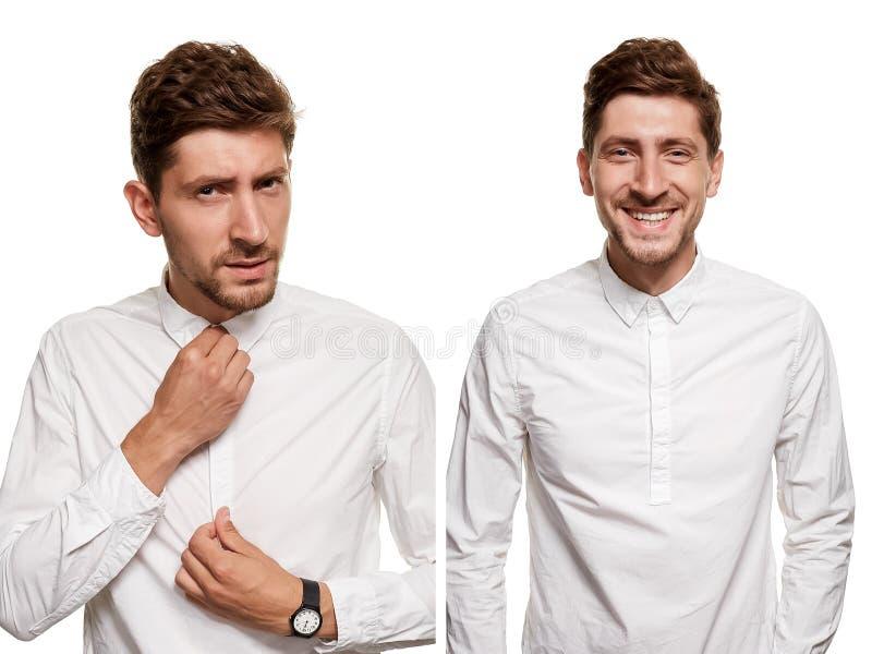 Gut aussehender Mann in einem weißen Hemd macht die Gesichter, lokalisiert auf einem weißen Hintergrund lizenzfreies stockbild