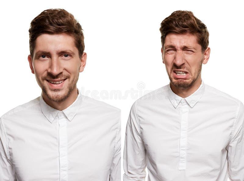 Gut aussehender Mann in einem weißen Hemd macht die Gesichter, lokalisiert auf einem weißen Hintergrund stockbilder
