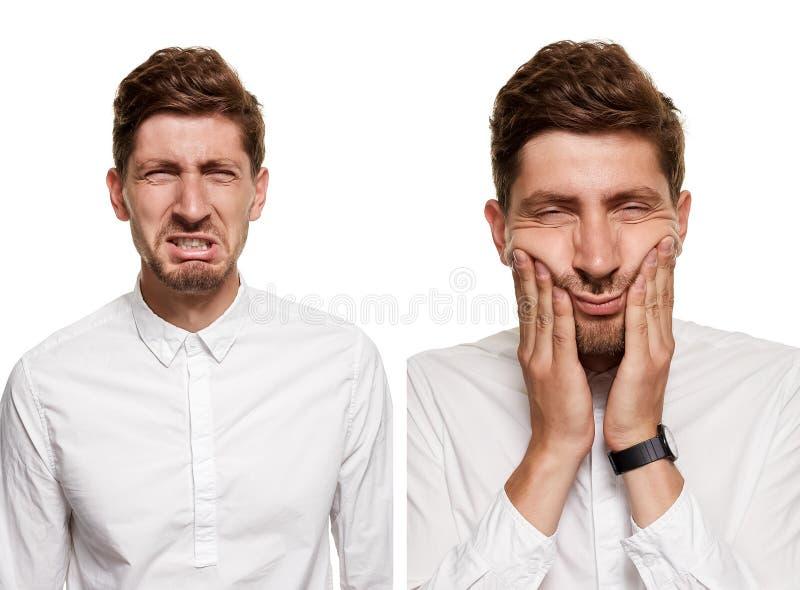 Gut aussehender Mann in einem weißen Hemd macht die Gesichter, lokalisiert auf einem weißen Hintergrund stockfotografie