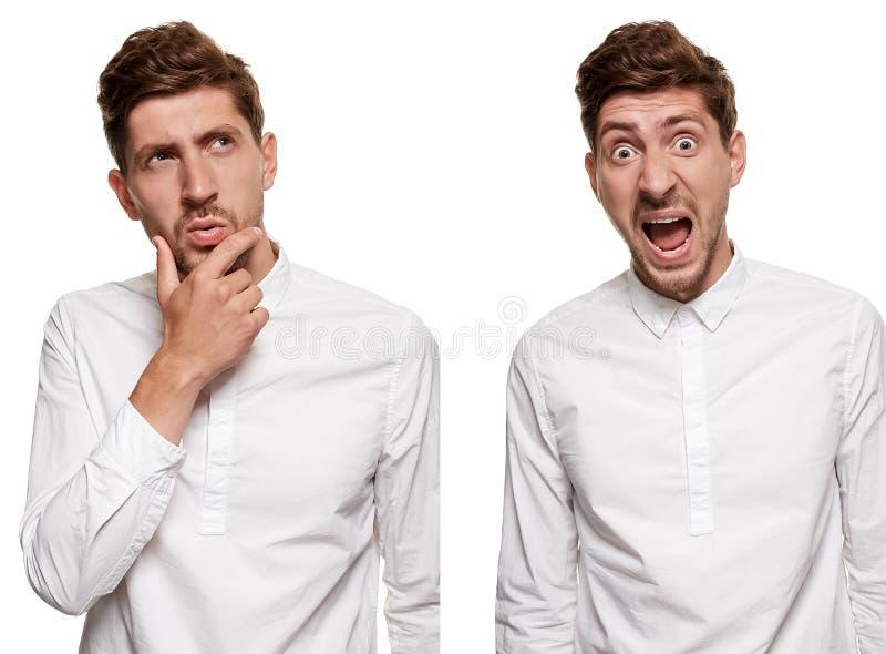 Gut aussehender Mann in einem weißen Hemd macht die Gesichter, lokalisiert auf einem weißen Hintergrund lizenzfreies stockfoto
