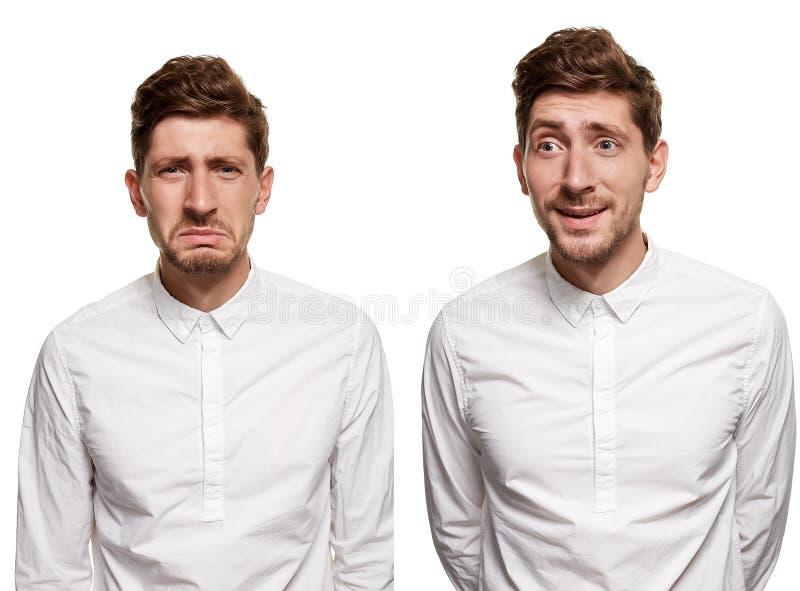 Gut aussehender Mann in einem weißen Hemd macht die Gesichter, lokalisiert auf einem weißen Hintergrund lizenzfreie stockfotos