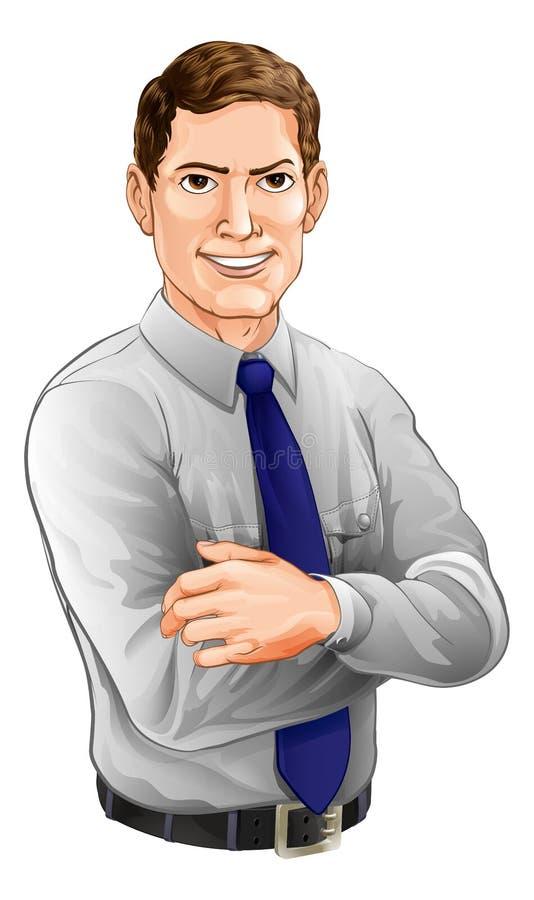 Gut aussehender Mann mit den Armen gefaltet lizenzfreie abbildung