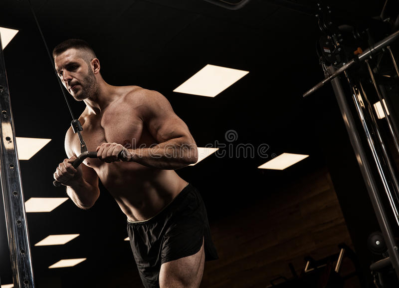 Gut aussehender Mann mit den großen Muskeln, werfend an der Kamera in der Turnhalle auf lizenzfreie stockfotos