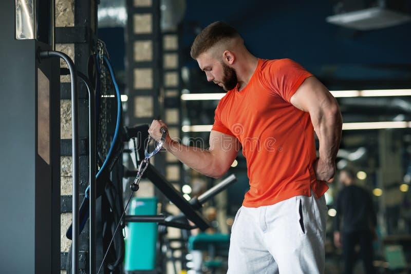 Gut aussehender Mann mit den gro?en Muskeln, werfend an der Kamera in der Turnhalle auf lizenzfreies stockfoto