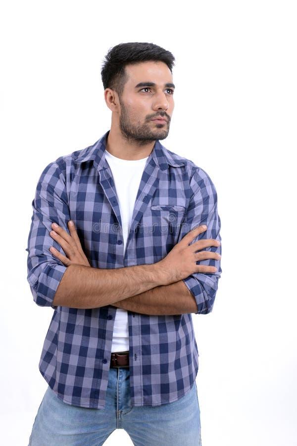 Gut aussehender Mann mit verschiedenen Ausdrücken auf einem weißen Hintergrund lizenzfreies stockbild