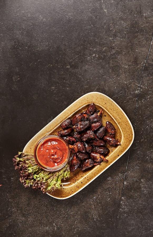 Gut gebratenes Organ-Fleisch eingestellt oder BBQ-Innereien-Sammlung stockfotos