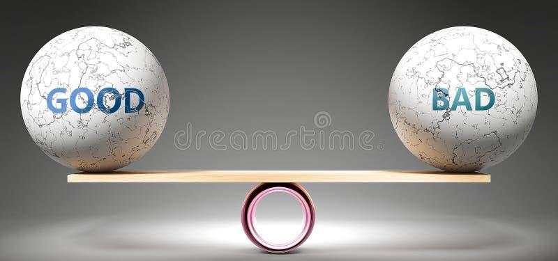 Gut und schlecht im Gleichgewicht - abgebildet als ausgeglichene Kugeln auf Skala, die Harmonie und Gerechtigkeit zwischen Gut un stock abbildung