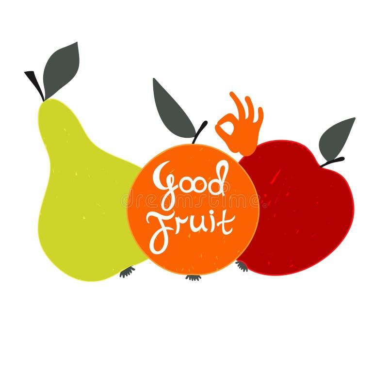 Gute Frucht Satz Frucht mit Text lizenzfreie abbildung