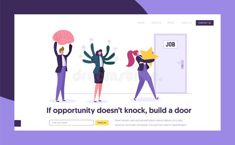 Gute Jobsuche-Konzept-Landungs-Seite Der Leute-Charakter, der beste Gelegenheit schaut, konkurrieren für Ideen-Belohnungs-Fähigke stock abbildung