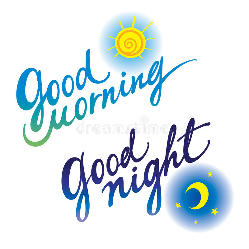 Gute Nacht des gutenmorgens stock abbildung