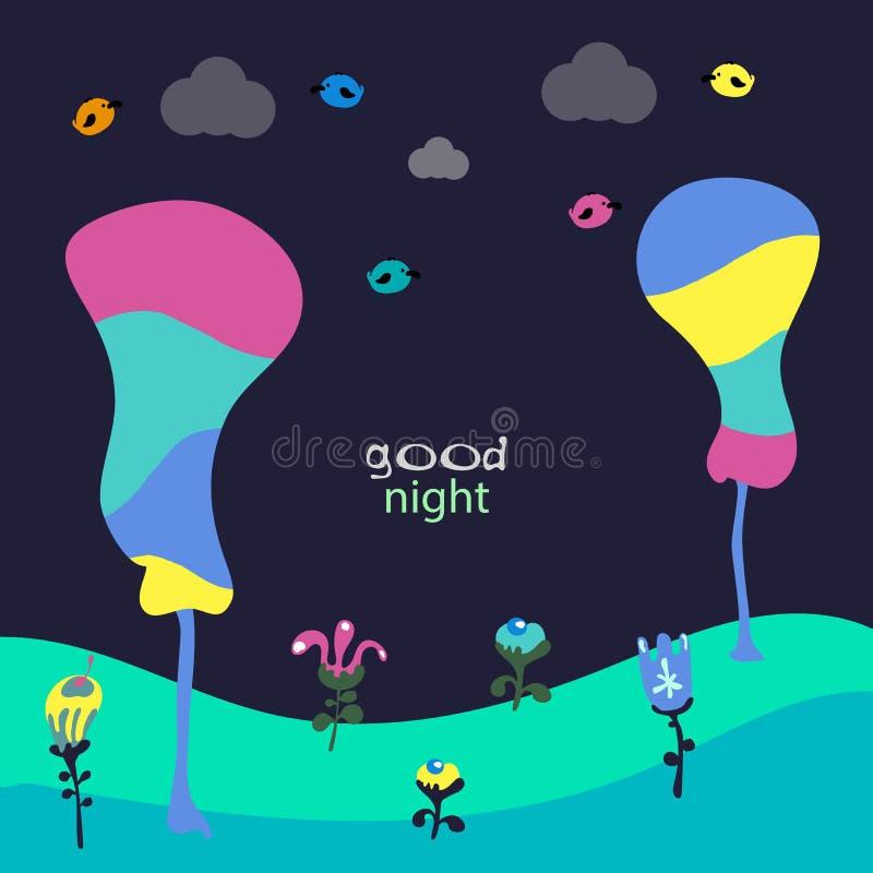 Gute Nacht Ehrfürchtige Karte mit reizenden Vögeln und Blumen Fantastischer kindischer Hintergrund stock abbildung