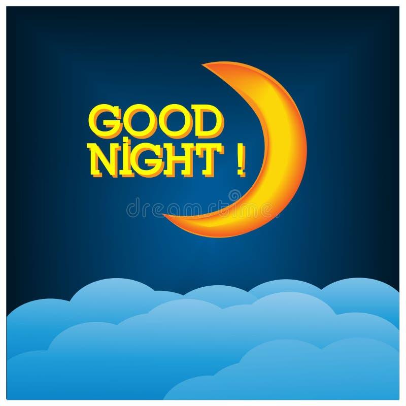 Gute Nacht mit sichelförmigem Mondillustrations-Vektorentwurf lizenzfreie abbildung