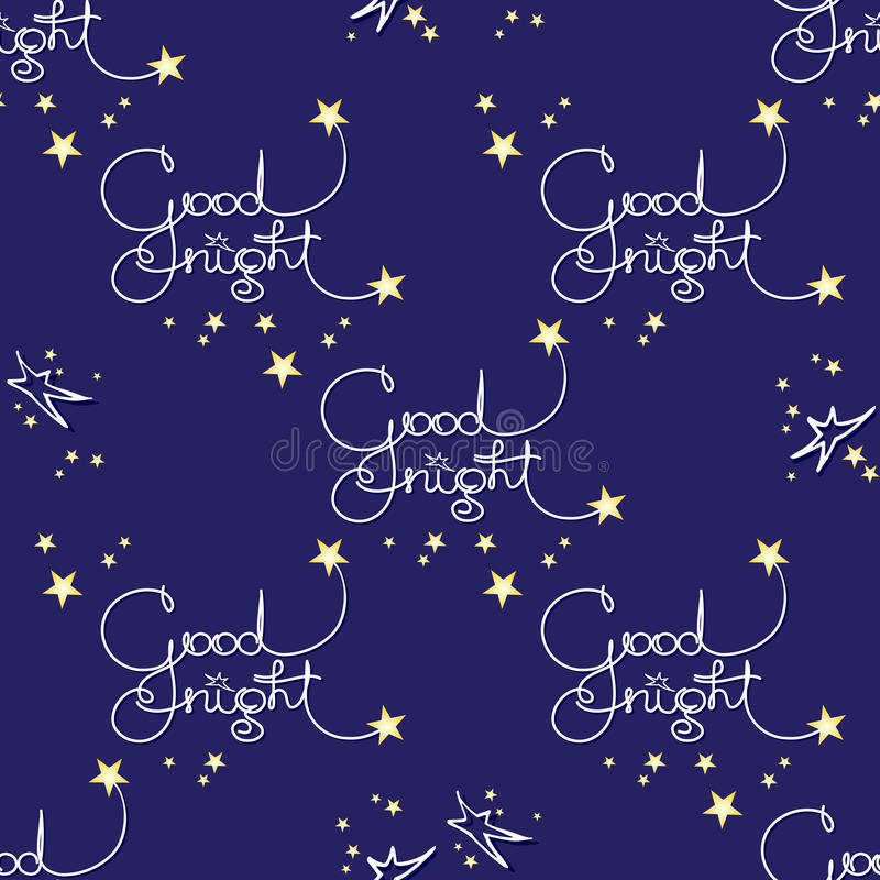 Gute Nacht Vector nahtloses Muster von handgeschriebenen Wörtern und von Sternen vektor abbildung