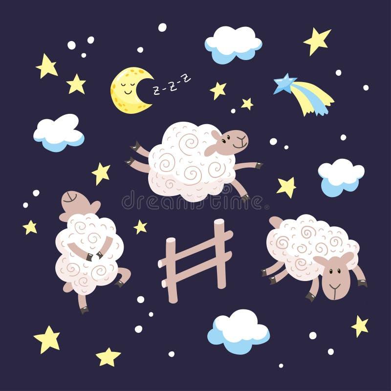 Gute Nachtkarikaturillustration für Kinder Handgezogene nette Schafe, die über den Zaun im nächtlichen Himmel springen stock abbildung