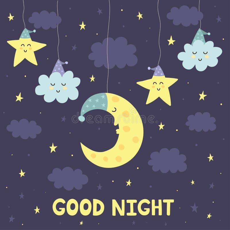 Gute Nachtkarte mit dem netten Schlafenmond und -sternen stock abbildung