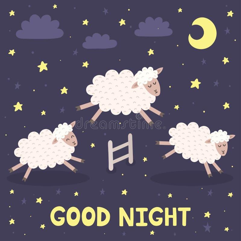 Gute Nachtkarte mit den Schafen, die über einen Zaun springen lizenzfreie abbildung