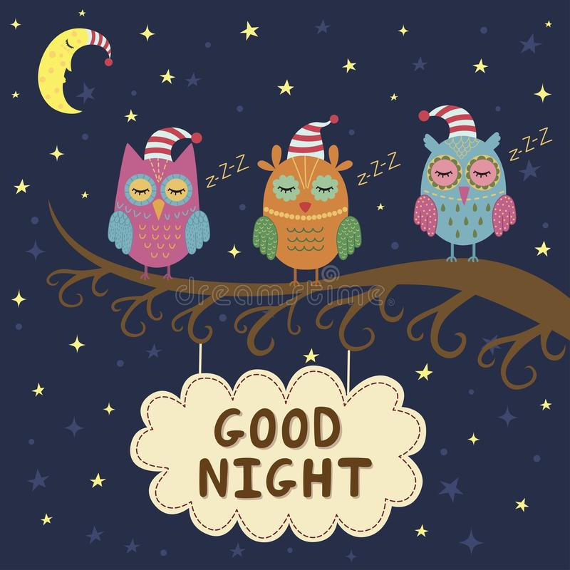 Gute Nachtkarte mit netten Schlafeneulen lizenzfreie abbildung