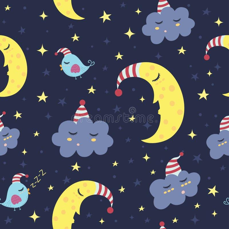 Gute Nachtnahtloses Muster stock abbildung