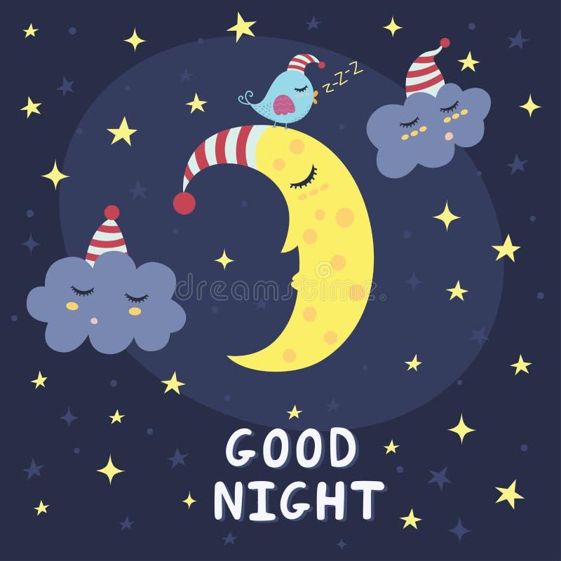 Gute Nachtvektorkarte mit dem netten Schlafenmond, den Wolken und einem Vogel stock abbildung