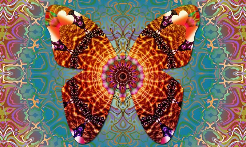 Gute Schwingungen Butterflie-Mandala stock abbildung