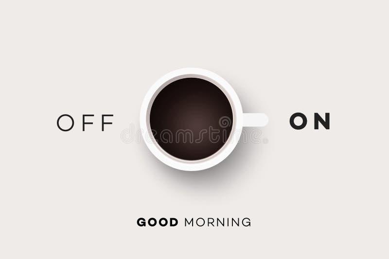 Guten Morgen Begriffsmotivations-Illustration mit Tasse Kaffee und Zusammenfassung auf weg von Rangierlok lizenzfreie abbildung
