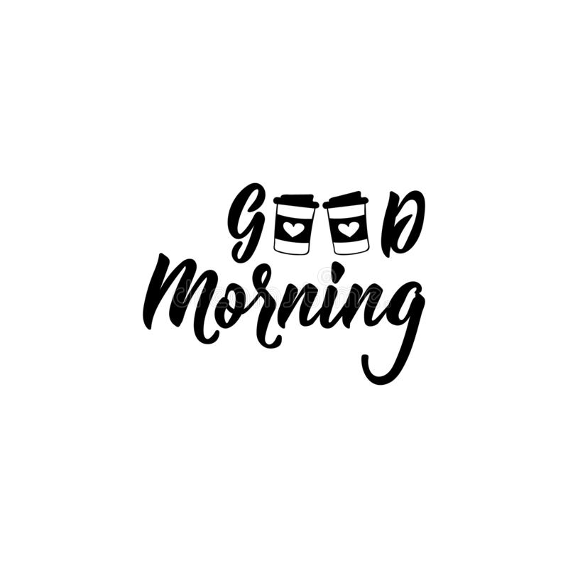 Guten Morgen Beschriftung Kalligraphievektorillustration